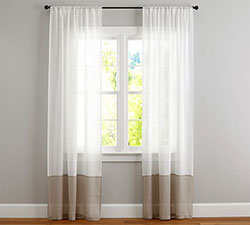 Belgian Linen Bottom Border Sheer Drapes