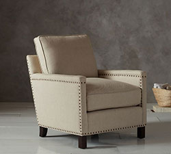 Tyler Upholstered Armchair in Linen Oatmeal