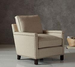 Tyler Upholstered Armchair in Linen Oatmeal