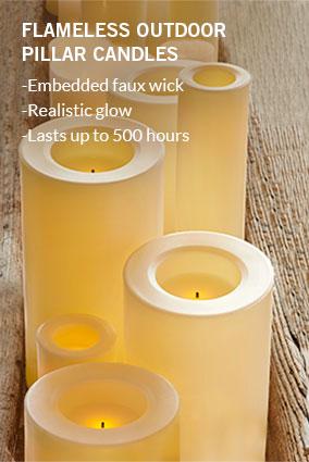 Flameless Outdoor Pillar Candles