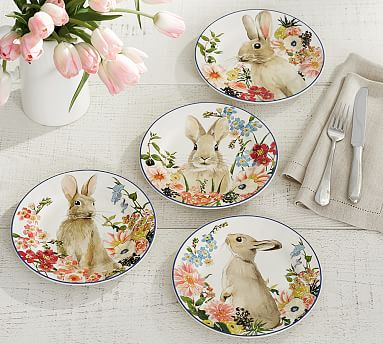 Floral Bunny Salad Plate Mixed Set Of 4 Pottery Barn