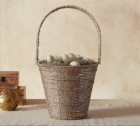 Silver Glitter Basket