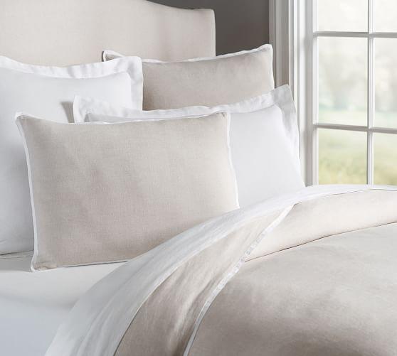 belgian flax linen contrast flange duvet cover sham pottery barn. Black Bedroom Furniture Sets. Home Design Ideas