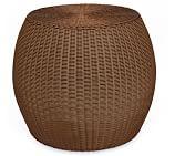 Palmetto All-Weather Wicker Barrel Accent Table, Honey