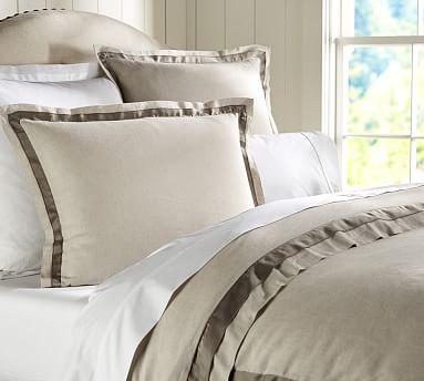 linen with silk trim duvet cover sham pottery barn. Black Bedroom Furniture Sets. Home Design Ideas