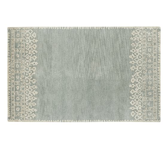 Desa Bordered Wool Rug, 3x5', Blue
