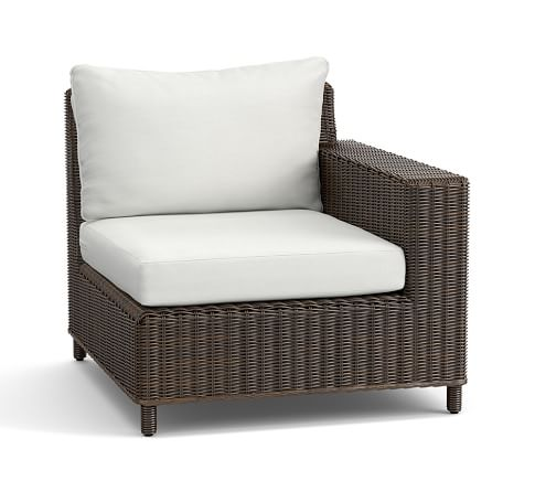 Torrey All-Weather Wicker Square Arm Sectional Right Arm Chair & Cushion, Espresso