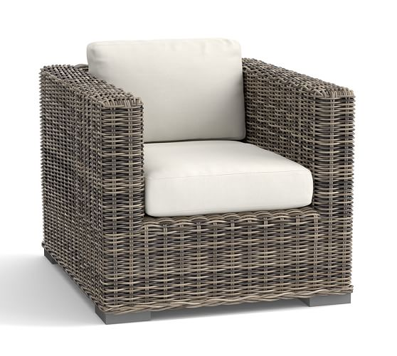 Huntington all weather wicker square arm occasional chair for All weather wicker furniture