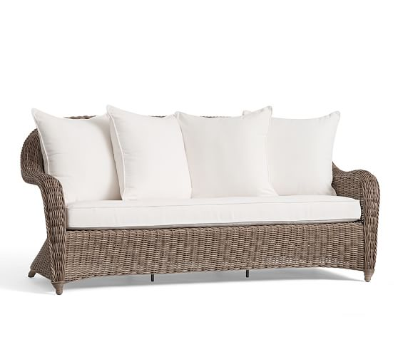 Torrey All Weather Wicker Roll Arm Sofa Natural