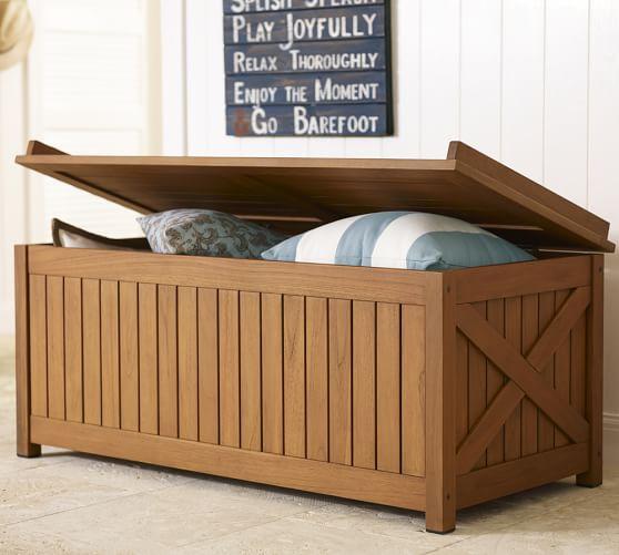 Hampstead Teak Storage Trunk Honey Pottery Barn