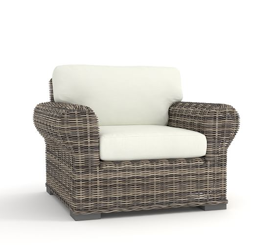 huntington all weather wicker roll arm occasional chair pottery barn. Black Bedroom Furniture Sets. Home Design Ideas