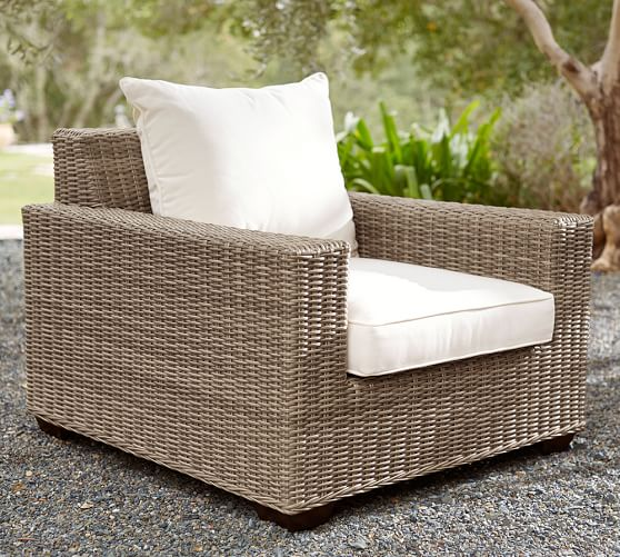 torrey all weather wicker square arm occasional chair natural pottery barn. Black Bedroom Furniture Sets. Home Design Ideas