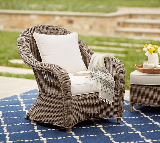 Torrey All-Weather Wicker Roll-Arm Occasional Chair - Natural