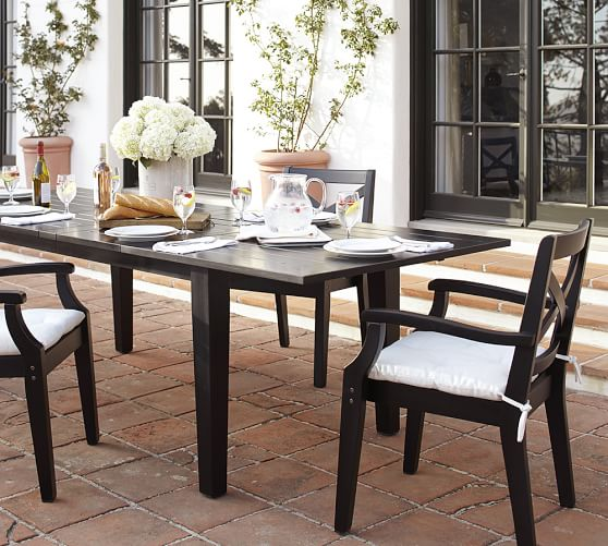 Hampstead painted rectangular extending dining table black pottery barn - Black extending dining table ...