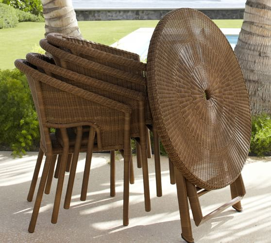 palmetto all weather wicker folding bistro table chair set honey pottery barn. Black Bedroom Furniture Sets. Home Design Ideas