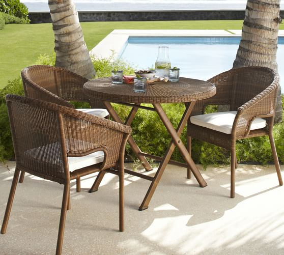 palmetto all weather wicker folding round bistro table. Black Bedroom Furniture Sets. Home Design Ideas