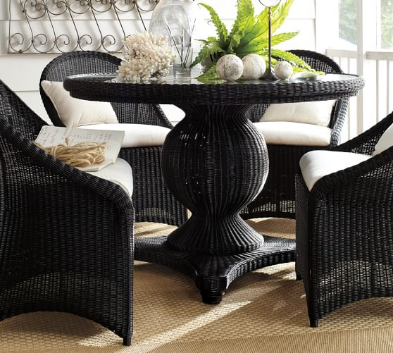 All Weather Wicker Round Pedestal Dining Table Black Pottery Barn