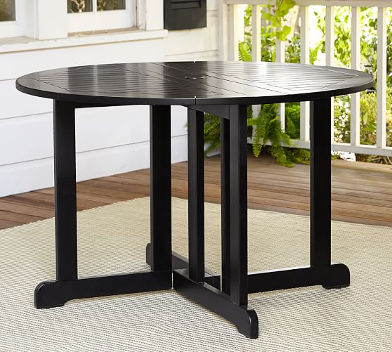 Hampstead painted round drop leaf dining table black for Round drop leaf dining table