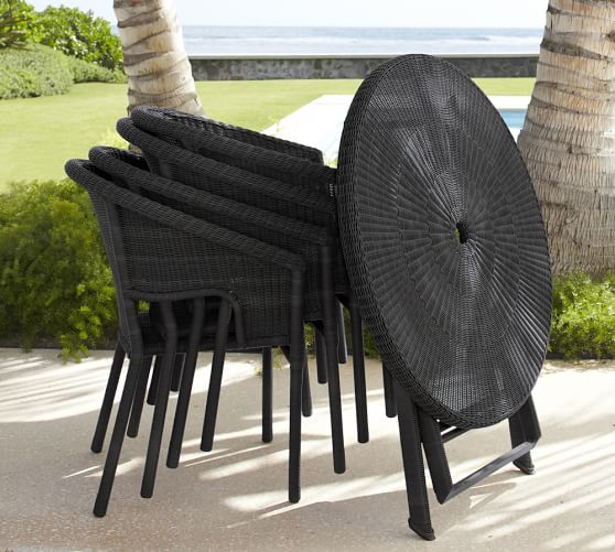 palmetto all weather wicker folding bistro table chair set black pottery barn. Black Bedroom Furniture Sets. Home Design Ideas