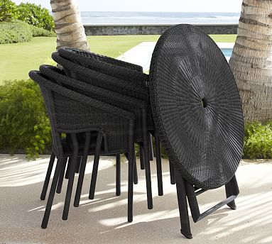 Palmetto All Weather Wicker Folding Bistro Table Amp Chair