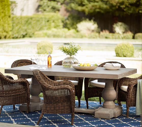 Scarlett Concrete Rectangular Dining Table & Torrey Roll-Arm Chair Set - Espresso