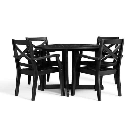 Hampstead Painted Round Drop Leaf Dining Table Chair Set Black