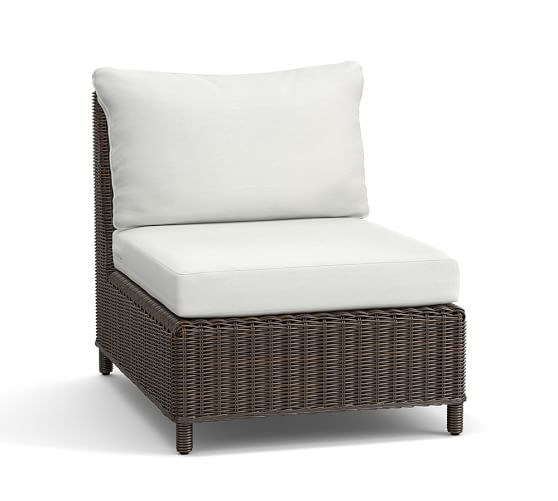 Torrey All-Weather Wicker Sectional Armless Chair & Cushion, Espresso