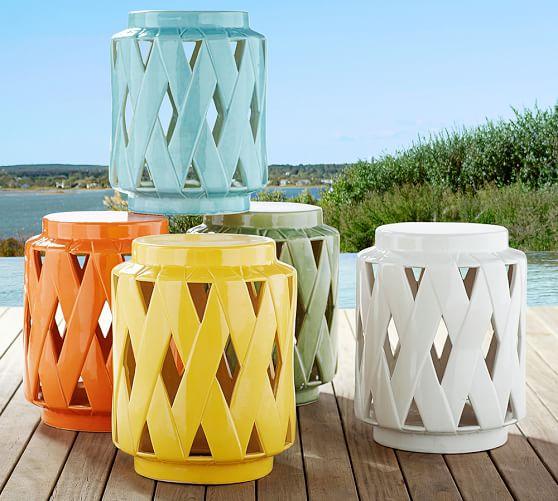 Lattice Ceramic Accent Table Pottery Barn