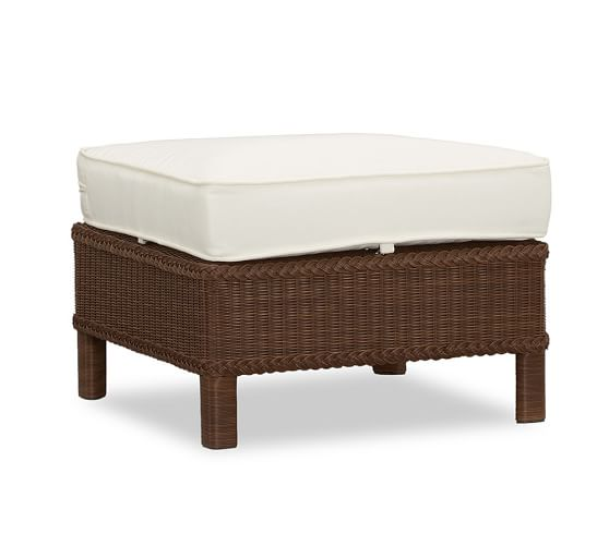 Palmetto All-Weather Wicker Ottoman, Honey