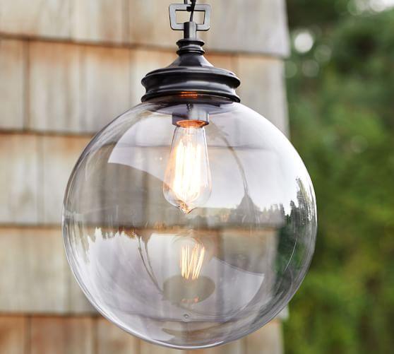 Calhoun Glass Indoor Outdoor Pendant Pottery Barn