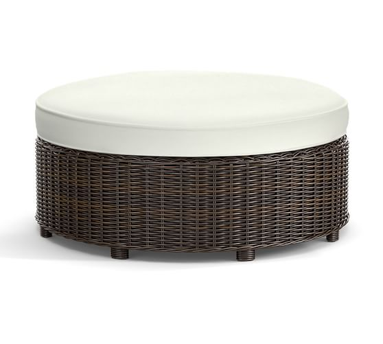 torrey all weather wicker round grand ottoman espresso pottery barn. Black Bedroom Furniture Sets. Home Design Ideas
