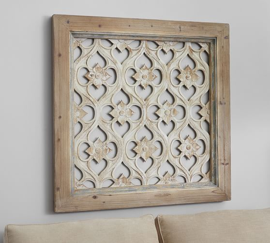 Hempstead carved wood wall art panel pottery barn