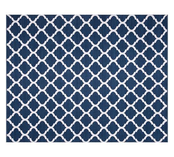Becca Tile Reversible Indoor Outdoor Rug Blue