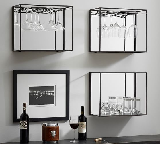 mirrored entertaining shelves bronze pottery barn. Black Bedroom Furniture Sets. Home Design Ideas