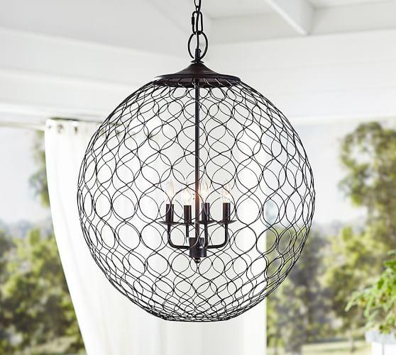 Pottery Barn Outdoor Pendant Lighting: Net Globe Indoor/Outdoor Pendant