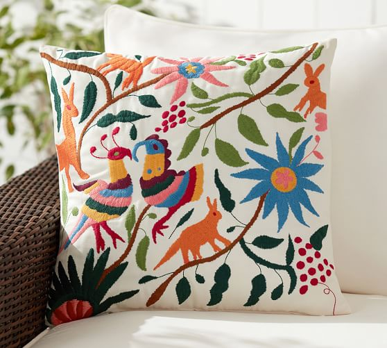 Vibrant Embroidered Indoor/Outdoor Pillow - Multi