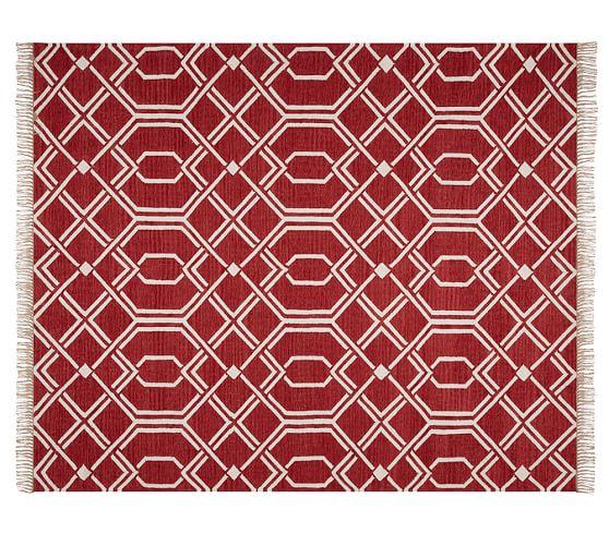 Diamond Lattice Indoor Outdoor Rug Red