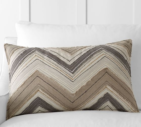 Zig-Zag Appliqué Lumbar Pillow Cover