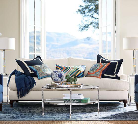 carlisle upholstered sofa pottery barn. Black Bedroom Furniture Sets. Home Design Ideas
