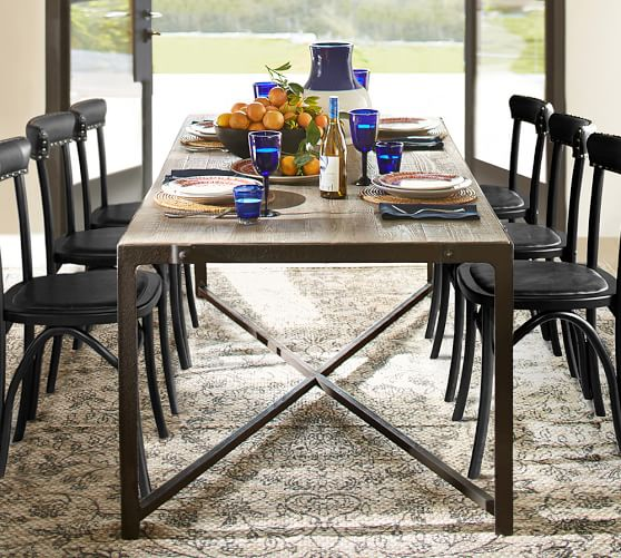 Clint Reclaimed Wood Fixed Dining Table Pottery Barn