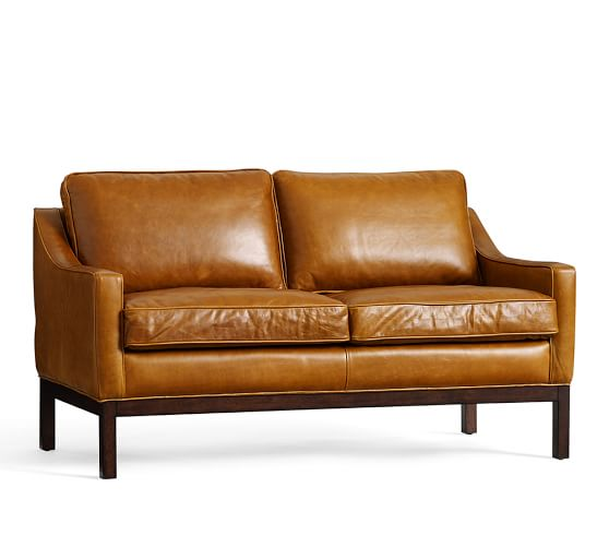 Dale Leather Loveseat Pottery Barn