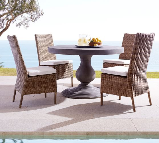 Geneva concrete round fixed dining table torrey chair for Only dining table online