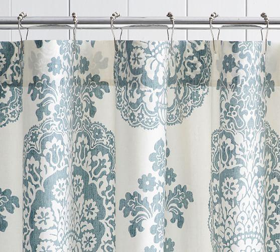 Lucianna Medallion Shower Curtain, Blue
