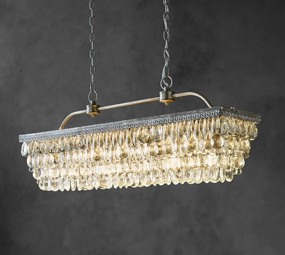 Clarissa Crystal Drop Rectangular Chandelier | Pottery Barn