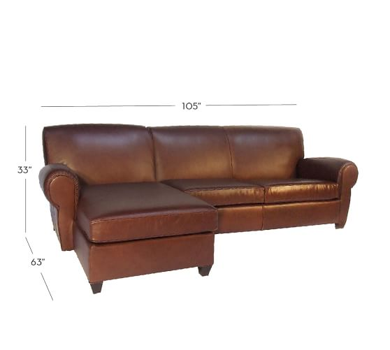 Manhattan leather 2 piece chaise sectional pottery barn for Elena leather 2 piece sectional sofa sofa chaise