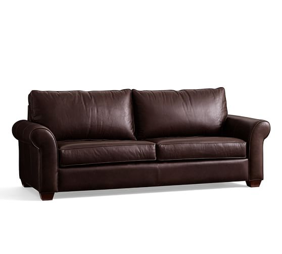 PB fort Roll Arm Leather Sleeper Sofa