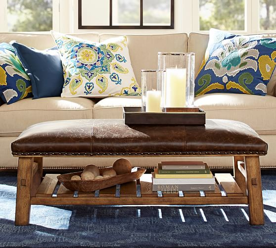 caden leather rectangular ottoman pottery barn. Black Bedroom Furniture Sets. Home Design Ideas