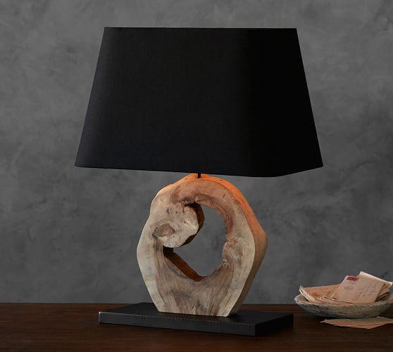 Emmett reclaimed wood slab lamp pottery barn for Wooden floor lamp pottery barn