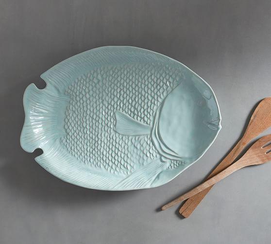 Malibu figural fish serving platter pottery barn for Fish serving platter
