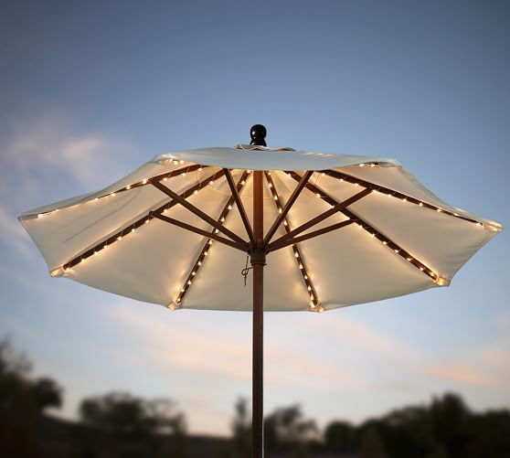 String Lights For Outdoor Umbrella : Mini LED Umbrella String Lights Pottery Barn